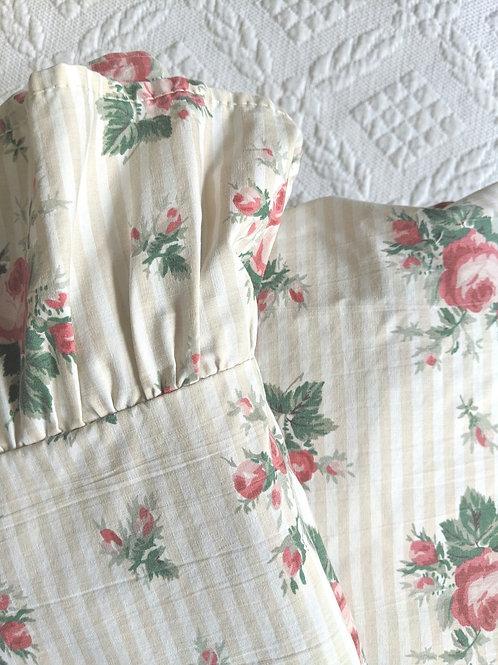 Ralph Lauren Tan Sophie Brooke Striped Queen Flat Fitted Sheet Set