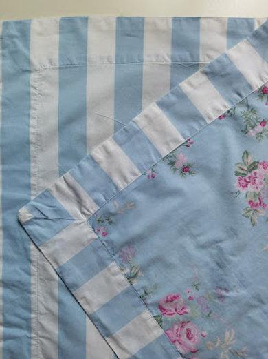 Simply Shabby Chic Cabbage Rose Std. Shams Misty Blue White Cabana Stripes