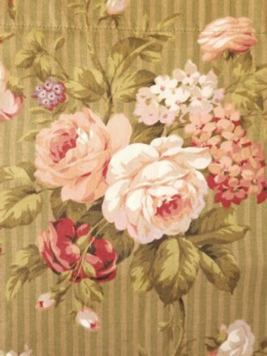 Cottage Floral Striped Panel Curtain Cotton Custom