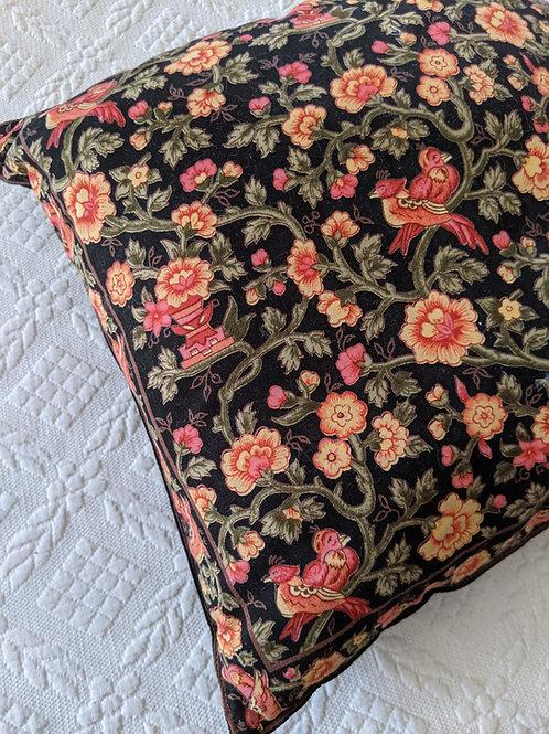 "April Cornell Black Coral Floral Pillow Cover 16"" Square"