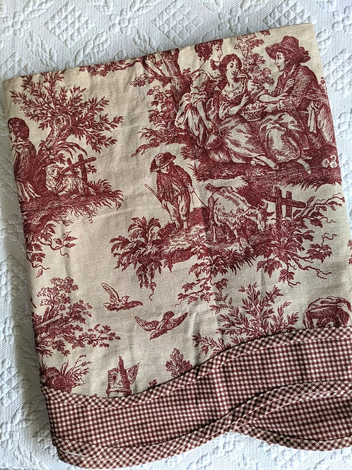 Waverly Valance Tan/Red French Toile Gingham Summer Retreat