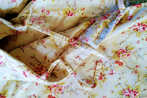 Pottery Barn Linen King Duvet Red Pink Floral w/ Ties