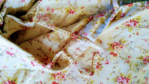Pottery Barn Linen King Duvet Red Pink Floral W Ties