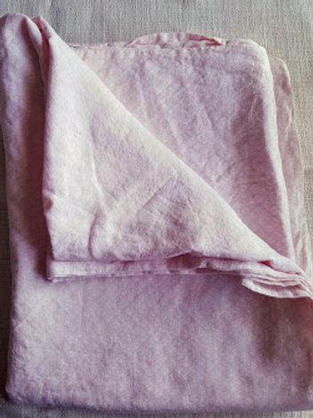 Pink Linen Twin Duvet Cover Small Print 70 x 86