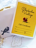 $100 Chickadee Vintage Gift Certificate