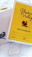 $50 Chickadee Vintage Gift Certificate