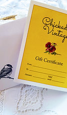 $25 Chickadee Vintage Gift Certificate