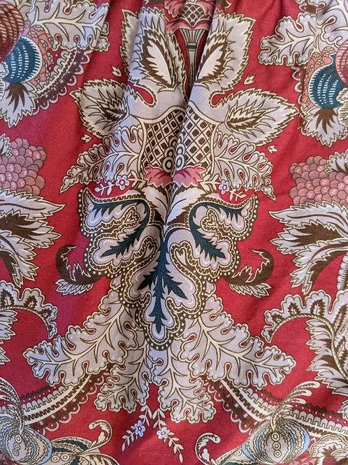 Ralph Lauren Jardinière Rossellini Red Scroll Floral Cal King Bed Skirt
