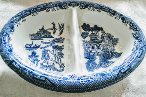 Churchill Blue Willow Divided Vegetable Bowl