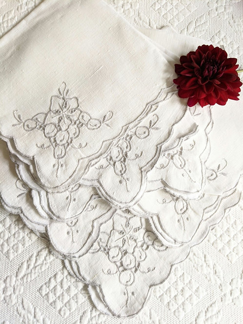 Linen Luncheon Napkins Gray Embroidery Set of 7