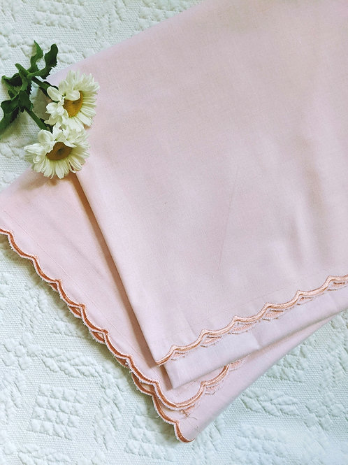 Pink Scalloped Euro Pillow Cover Pair Buttons