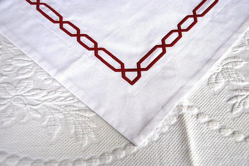 Pottery Barn White/Red Satin Chain Stitch Std. Sham