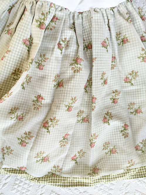 Waverly Queen Full Bed Skirt Spring Romance Pink Roses Sheer Green Gingham