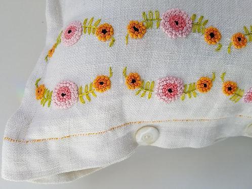 Linen Tea Towel Pillow Handmade Vtg. Embroidery Buttons