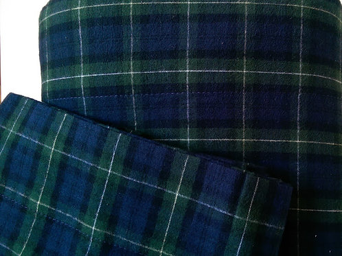 Flannel Plaid Sheet Queen Flat Case~Made in Portugal