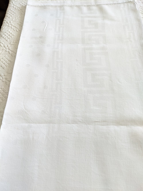 Polka Dots Greek Key Tablecloth White on White 66 x 70
