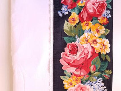 Ellen Tracy Queen Flat sheet~Floral Eyelet Trim