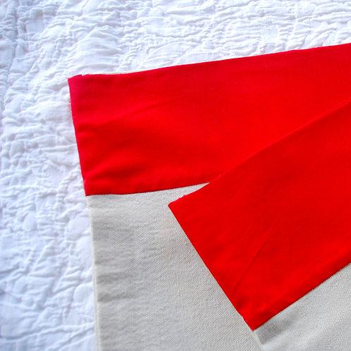 Custom Canvas Pillowcase Standard Pair Red Hem Cotton