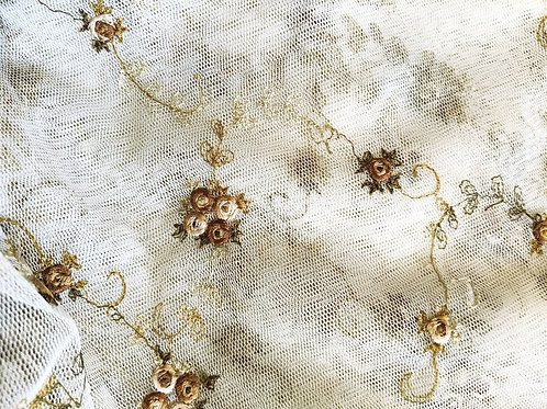 Spring Blossom Sheer Embroidered Ecru Tan Gold 100x56