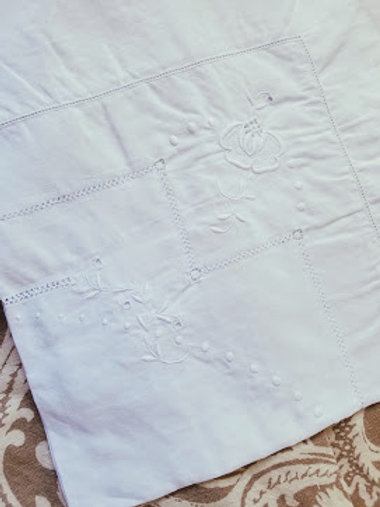 Vintage White on White Square Tablecloth Embroidered