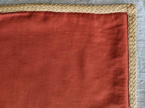 Pottery Barn Cotton Linen Pillow Barn Red Jute Trim
