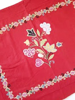 Pottery Barn Linen blend Red Std. Shams Embroidered