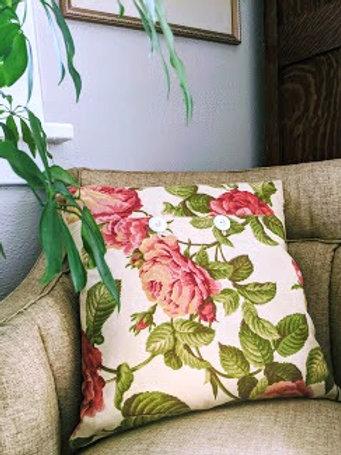 Handmade Pillow~Floral Cotton~Vintage Trim Buttons