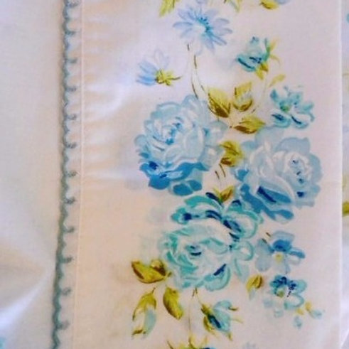Vintage Twin Flat Sheet Case Percale Blue Roses JCP