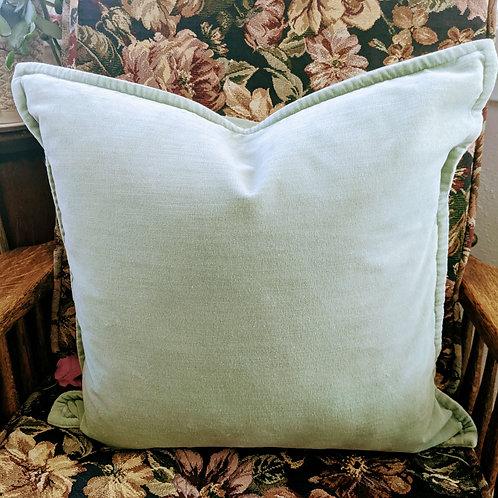 """Pottery Barn Cotton Mint Velvet Throw Pillow 20"""" Down Insert"""