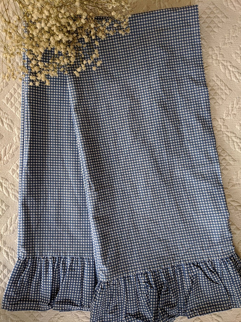 Ralph Lauren King Pillowcase Pair Ruffled Blue Gingham Check