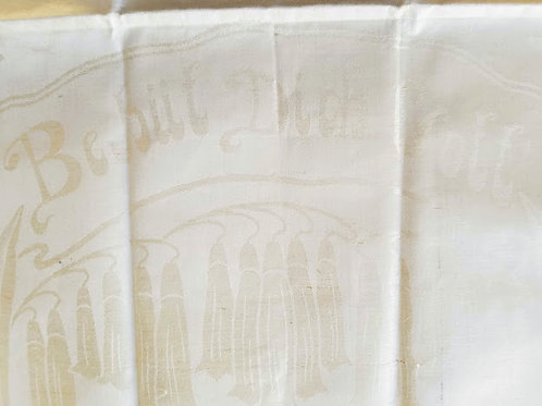 German Figural Linen Damask Tea Towel~ Trumpeter~ Behüt Dich Gott