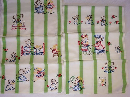 Goldilocks Cotton Tea Towels Hand Stitched Vintage
