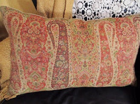 Pottery Barn Lumbar Wool/Velvet Pillow~Down Insert