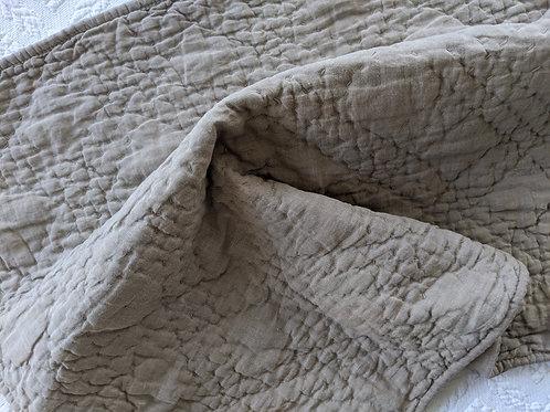 Restoration Hardware Belgian Linen Diamond-Stitch Quilt Euro Sham Prairie