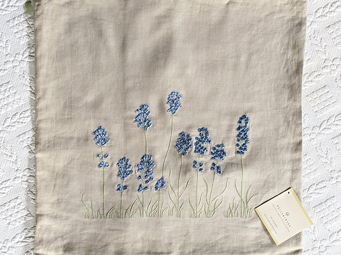 Pottery Barn Chenille Embroidered Pillow Cover Blue Flowers