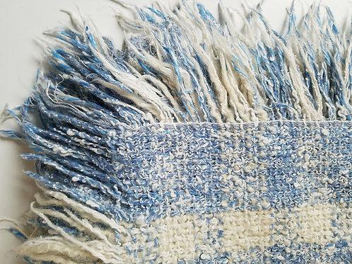 Wool Lap Blanket~Cream/Blue Weave~Fringe