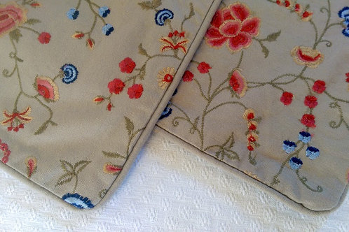 Pottery Barn Pillow Cover Pair~Embroidered~Square