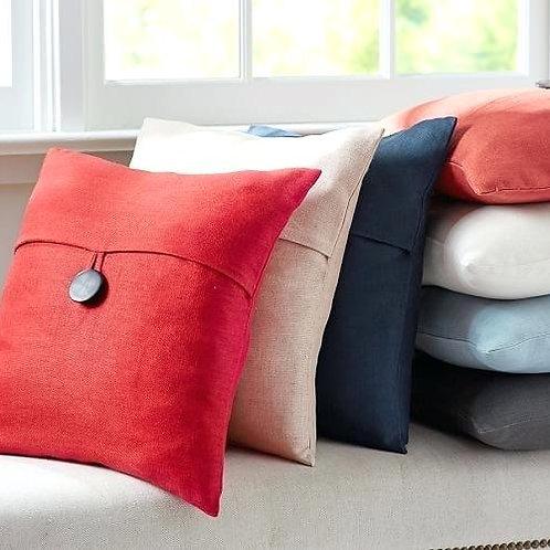 Pottery Barn Linen Red Pillow~Button~ 18