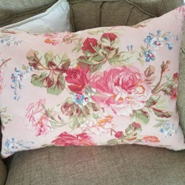 Pink Handmade Pillow~Floral Cotton Lumbar Down Insert