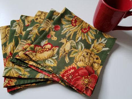 April Cornell Napkins~Set of 6 Green Floral Birds