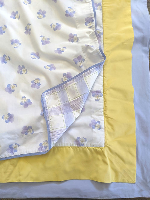 Yves Dolorme King Floral Duvet Cover LolaBleu Pansies Violet Yellow