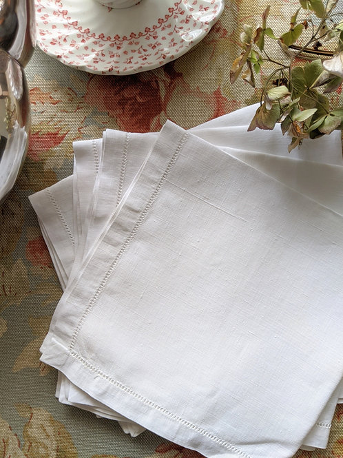 "Linen Luncheon Napkins White Set of Four 13"" Ladderwork"