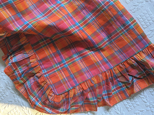 Ralph Lauren Orange Madras Plaid Standard Sham Ruffled