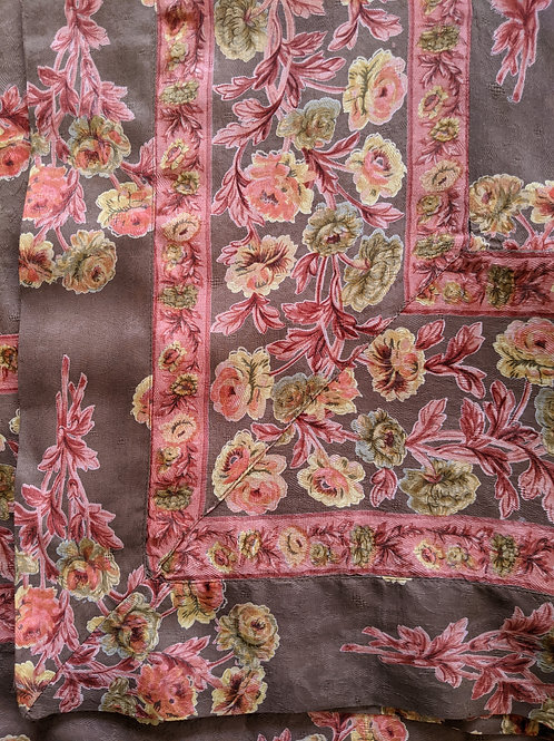 """April Cornell Table Cloth Taupe Coral Floral New 59""""x 59"""""""