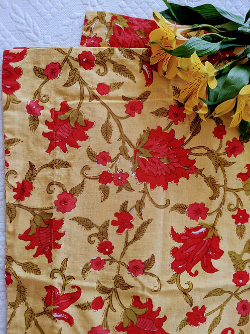 Pottery Barn Standard Pillow Sham Yellow Red Floral Linen Blend