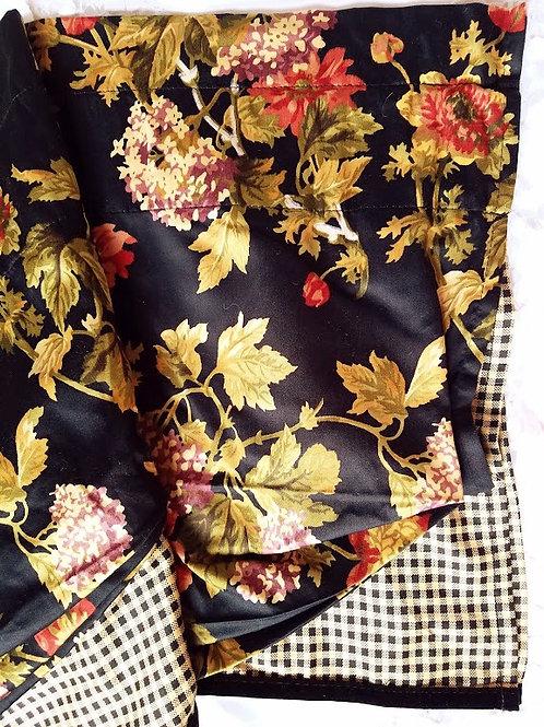 Waverly Harbor Square Garden Room Valance Black w/ Multi-color Cotton