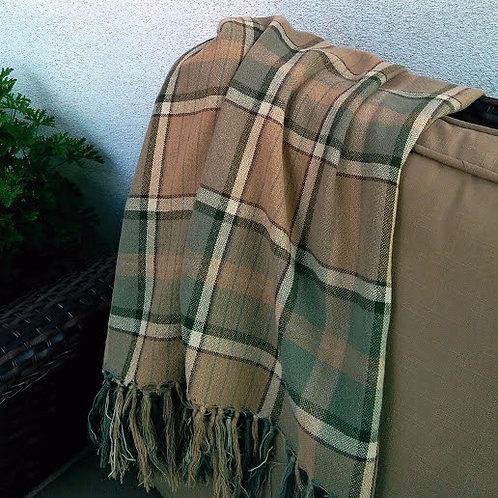 Ralph Lauren Plaid Blanket Throw Fringed Brown Green Cotton