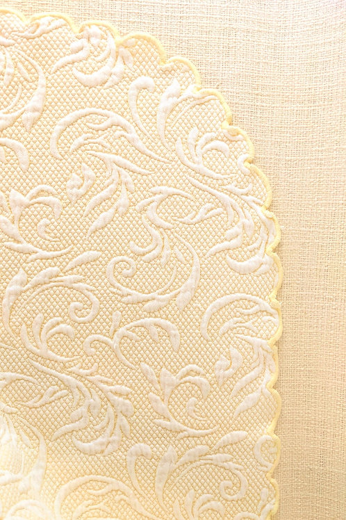 Peacock Alley Yellow White Matelasse Twin Quilt