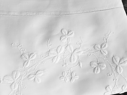 Embroidered Pillow Cover White Layover Trim Vintage Queen Size