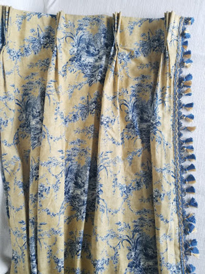 Waverly Toile Pleated Curtain Pair La Petite Ferme Yellow Blue